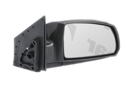 Oglinda exterioara Kia Rio (De), 01.05-2009.2011, partea Dreapta, culoare sticla crom , sticla convexa, cu carcasa neagra, ajustare manuala,