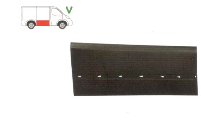 Panou reparatie usa Mercedes VITO / Clasa V (W638), 02.1996-01.2003, partea dreapta, usa culisanta; inaltimea 518 mm, cu gauri pentru bandou, metal,