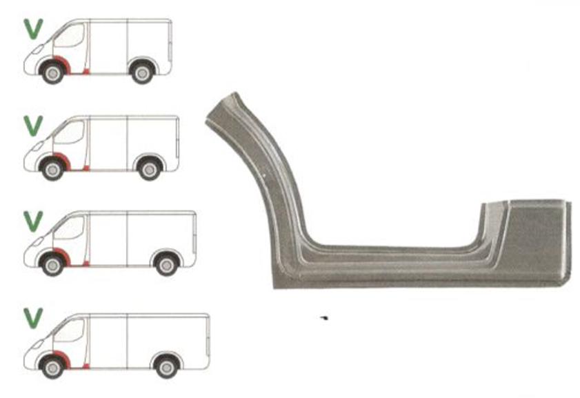 Prag Mercedes Sprinter 209-524 (W906) 07.2006-2017, VW Crafter (2E) 12.2005-04.2017 , partea Stanga, sub usa fata, cu 1/3 segment interior aripa fata