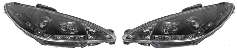 Set faruri tunin Peugeot 207 (W_) 05.2006-12.2013 Aftermarket partea Dreapta+Stanga H1+H1 manual , cu lumina parcare LED, transparent negru