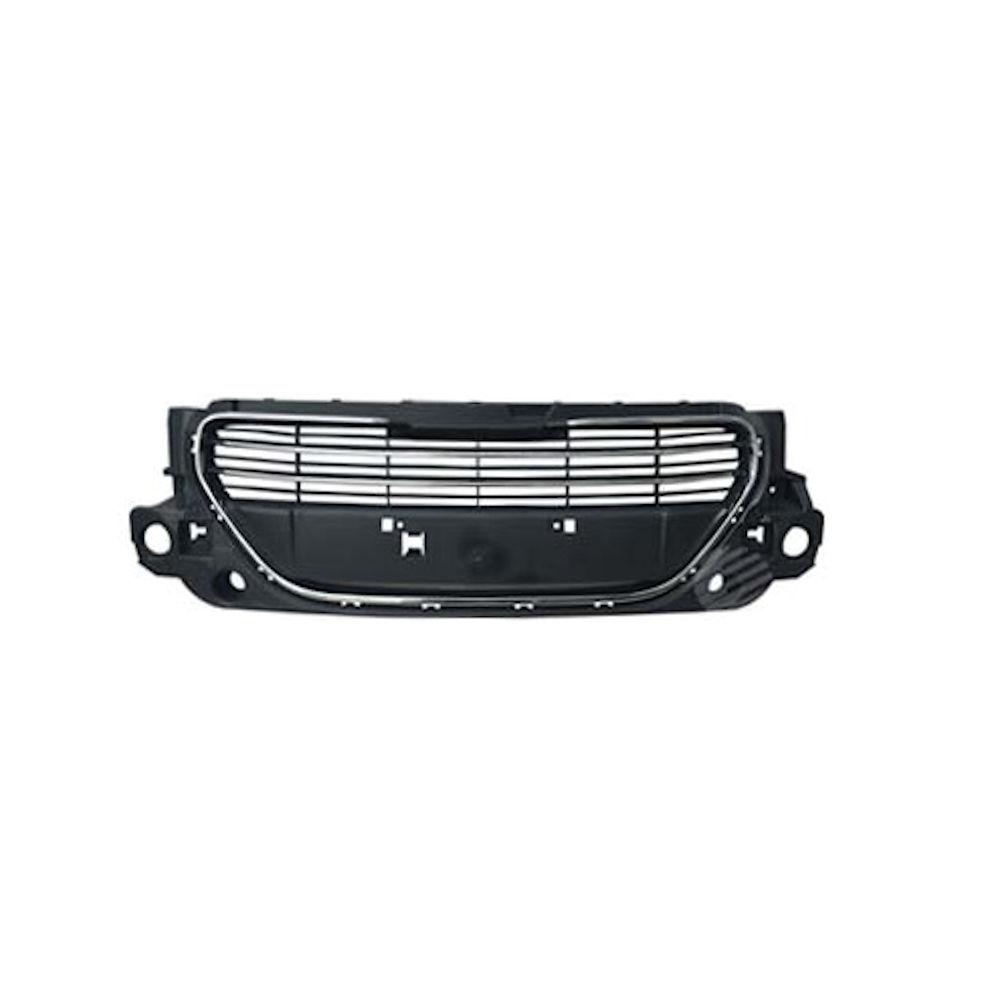 Grila radiator, masca fata Peugeot 301, 01.2013-01.2017, parte montare centrala, cu rama cromata, cu ornament cromat, crom/negru, 57B205-0, Aftermarket
