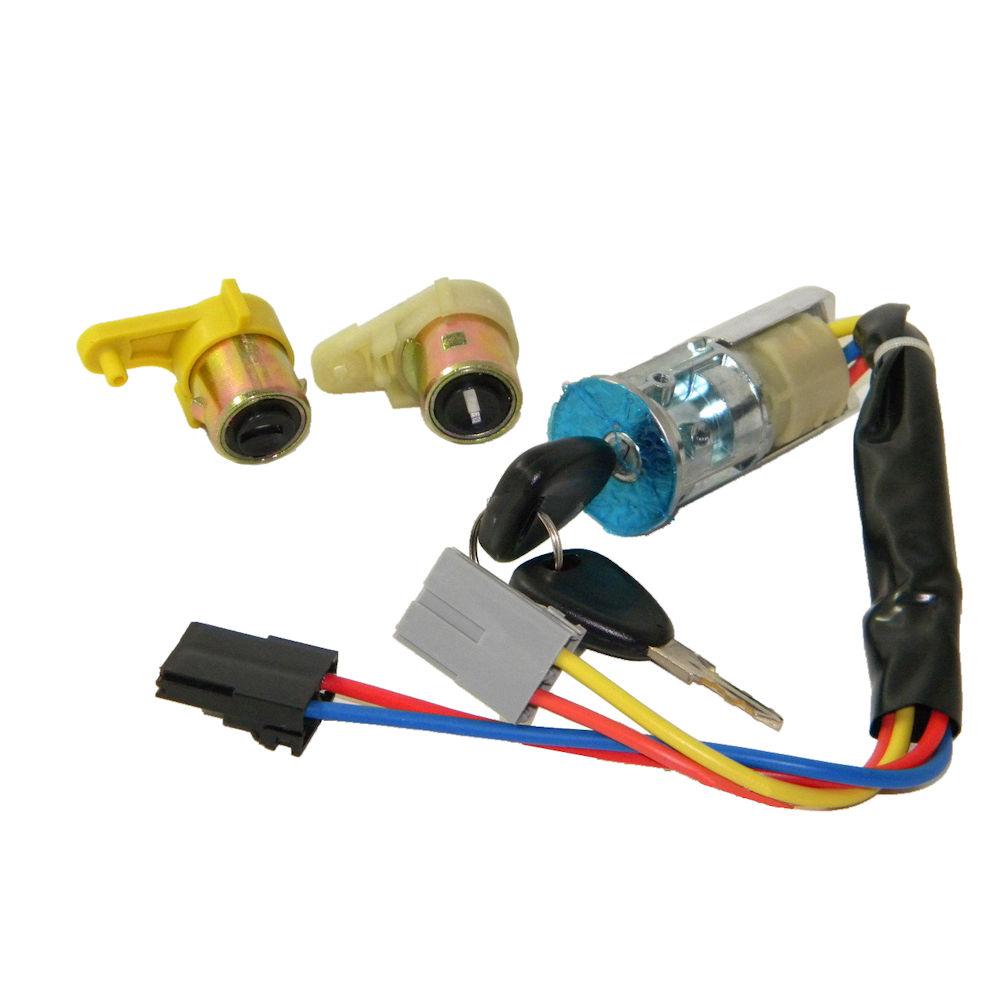Set yale inchidere Renault Kangoo (Kc/Fc), 03.1998-01.2008, cu chei, cu 2 butuci blocare usa, cu contact cheie,