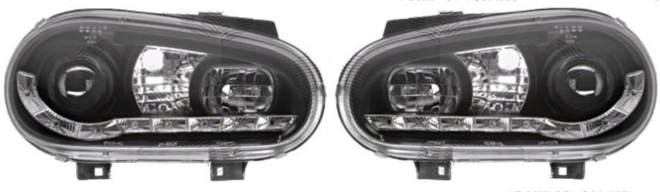Set faruri tuning VW Golf 4 (Hatchback + Combi) 08.1997-09.2006, si Golf 4 CABRIOLET (1EXO) 04.1998-10.2003 Aftermarket partea Dreapta+Stanga daytime running light, tip bec H1+H1, negru-transparent, fara motoras