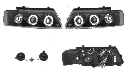 Set faruri tuning VW Passat Sedan+Combi (B5) 1997-2000 Aftermarket partea Dreapta+Stanga, tip bec H1+H1, negru-transparent, fara motoras, cu pozitie fibra optica