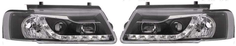 Faruri tuning Vw Passat Sedan+Combi (B5) 1997-2000 Aftermarket partea Dreapta/ Stanga fumurii cu bec H1+H1, negru-transparent, fara motoras, cu pozitie cu LED