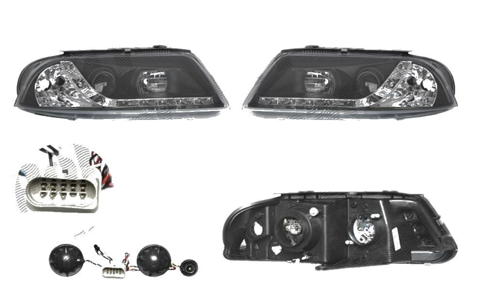 Set faruri tuning VW Passat Sedan+Combi (B5 (3B GP)) 11.2000-01.2005 Aftermarket partea Dreapta+Stanga daytime running light, tip bec H1+H1, transparent-negru