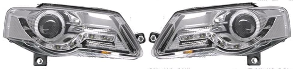 Set faruri tuning VW Passat Sedan+Combi (B6 (3C)) 01.2005-07.2010 Aftermarket partea Dreapta+Stanga daytime running light, tip bec H9, transparent-silver, manual,