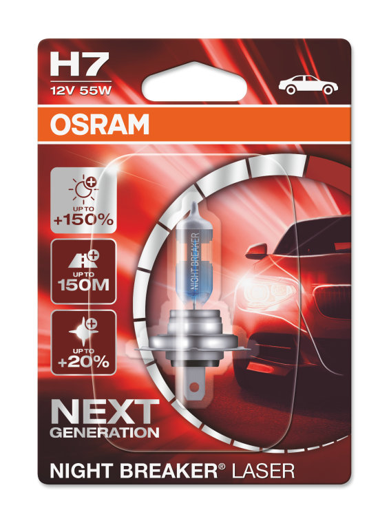 Becuri auto H7 12V 55W Px26d Osram NightBreaker Laser +150% mai multa lumina , culoare temperatura 3750K; 64210NL