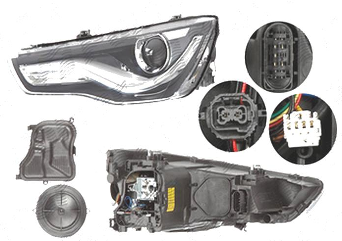 Far Audi A1 (8x), 04.2010-01.2015, fata, Stanga, bi-xenon; cu LED daytime running light; D3S+LED; electric; fara motoras; fara LED controlling unit, ZKW
