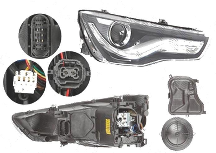 Far Audi A1 (8x), 04.2010-01.2015, fata, Dreapta, bi-xenon; cu LED daytime running light; D3S+LED; electric; fara motoras; fara LED controlling unit, ZKW