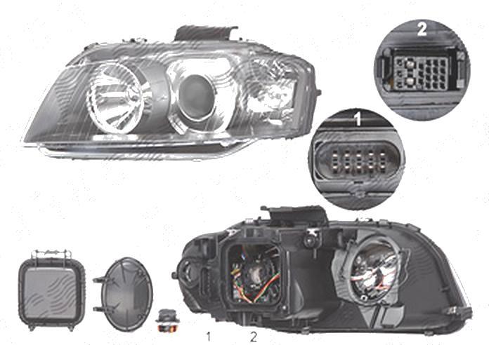 Far Audi A3 (8p), 05.2003-04.2008, fata, Stanga, xenon; D2S+H7; electric; fara unitate control; fara ballast; fara bec/-uri; cu motor, DEPO