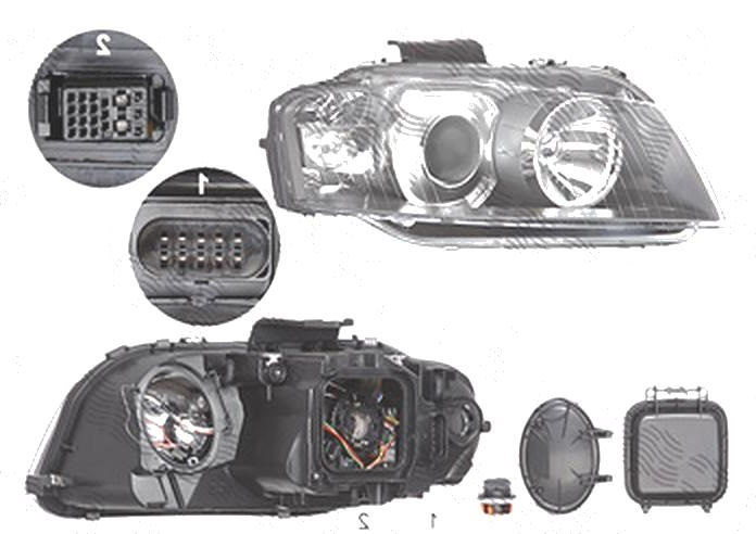 Far Audi A3 (8p), 05.2003-04.2008, fata, Dreapta, xenon; D2S+H7; electric; fara unitate control; fara ballast; fara bec/-uri; cu motor, DEPO