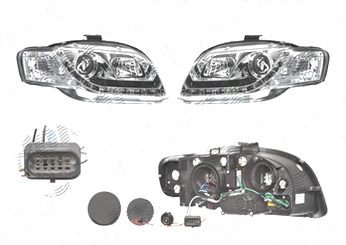 Set faruri Audi A4 (B7), 11.2004-03.2008, fata, Stanga+Dreapta, cu LED-uri pozitie; H1+H7; manual; transparent, silver; tuning;