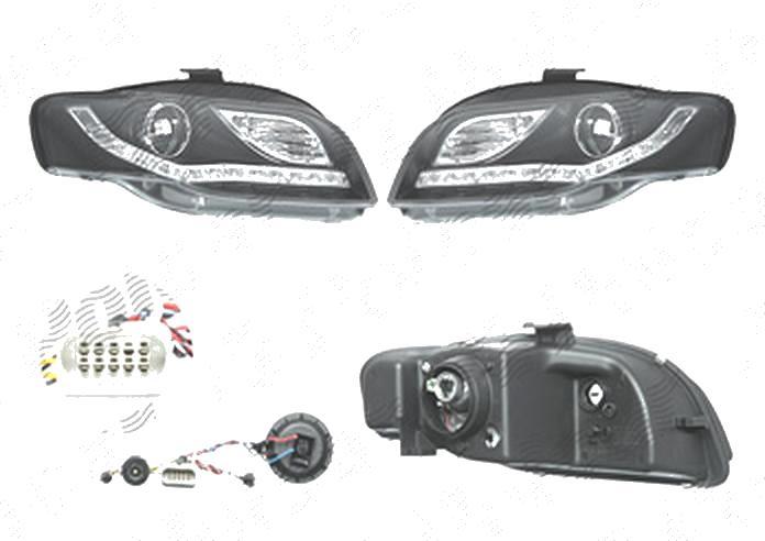 Set faruri Audi A4 (B7), 11.2004-03.2008, fata, Stanga+Dreapta, cu LED-uri pozitie; H9; electric; negru, transparent; cu motor; tuning;