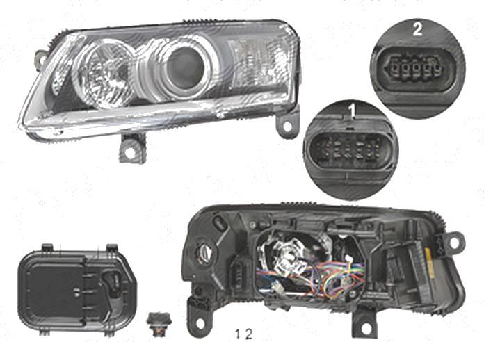 Far Audi A6 (C6), 05.2004-10.2008, fata, Stanga, xenon; cu daytime running light; D2S+P21W+PY21W+W5W; electric; fara unitate control; fara ballast; fara motoras; fara bec/-uri, DEPO