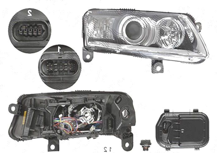 Far Audi A6 (C6), 05.2004-10.2008, fata, Dreapta, xenon; cu daytime running light; D2S+P21W+PY21W+W5W; electric; fara unitate control; fara ballast; fara motoras; fara bec/-uri, DEPO