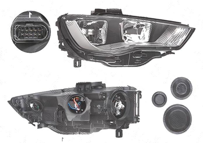 Far Audi A3 (8v), 06.2012-07.2016, fata, Dreapta, cu daytime running light; H15+H7+PWY24W+W5W; electric; cu motor, TYC