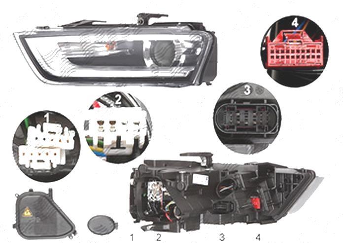 Far Audi Q3 (8u), 06.2011-02.2015, fata, Stanga, bi-xenon; cu LED daytime running light; D3S+LED+PWY24W; electric; fara LED controlling unit; cu motor, ZKW