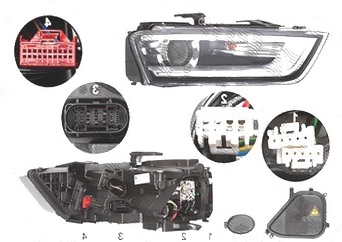 Far Audi Q3 (8u), 06.2011-02.2015, fata, Dreapta, bi-xenon; cu LED daytime running light; D3S+LED+PWY24W; electric; fara LED controlling unit; cu motor, ZKW
