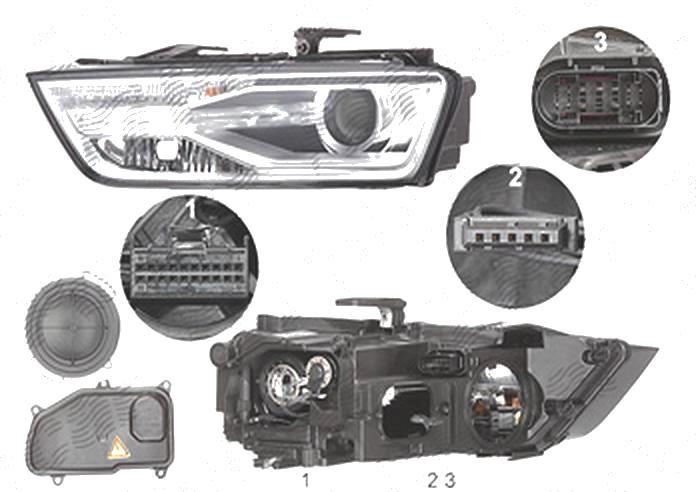 Far Audi Q3 (8u), 01.2015-, fata, Stanga, bi-xenon; cu lumini pentru curbe; cu LED daytime running light; D5S+H8+LED; electric; fara LED controlling unit; cu motor, ZKW