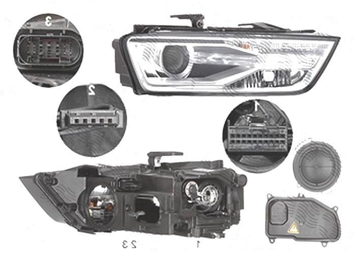 Far Audi Q3 (8u), 01.2015-, fata, Dreapta, bi-xenon; cu lumini pentru curbe; cu LED daytime running light; D5S+H8+LED; electric; fara LED controlling unit; cu motor, ZKW