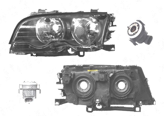 Far Bmw Seria 3 (E46), Coupe/Cabrio, 05.1999-06.2001, fata, Stanga, H7+H7; electric; rama reflector negru; cu motor, DEPO