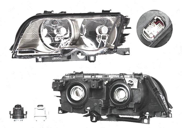 Far Bmw Seria 3 (E46), Sedan/Combi, 06.1998-09.2001, fata, Stanga, H7+H7; electric; rama titanium; cu motor, DEPO