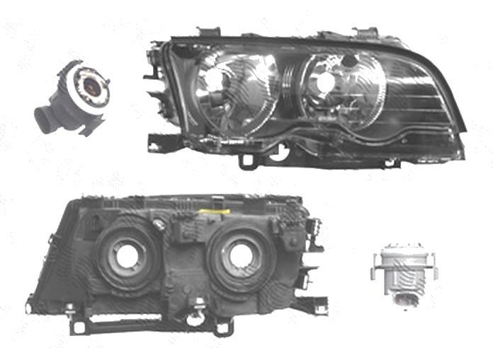 Far Bmw Seria 3 (E46), Coupe/Cabrio, 05.1999-06.2001, fata, Dreapta, H7+H7; electric; rama reflector negru; cu motor, DEPO