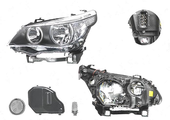 Far Bmw Seria 5 (E60/E61), 06.2003-03.2007, fata, Stanga, H7+H7+LED+PY21W+W5W; electric; semnalizare alba; cu motor, DEPO