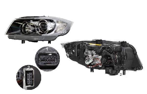Far Bmw Seria 3 (E90/E91), 11.2004-08.2008, fata, Dreapta, bi-xenon; cu daytime running light; D1S+H7+PY21W; electric; fara unitate control; fara ballast; fara motoras, TYC