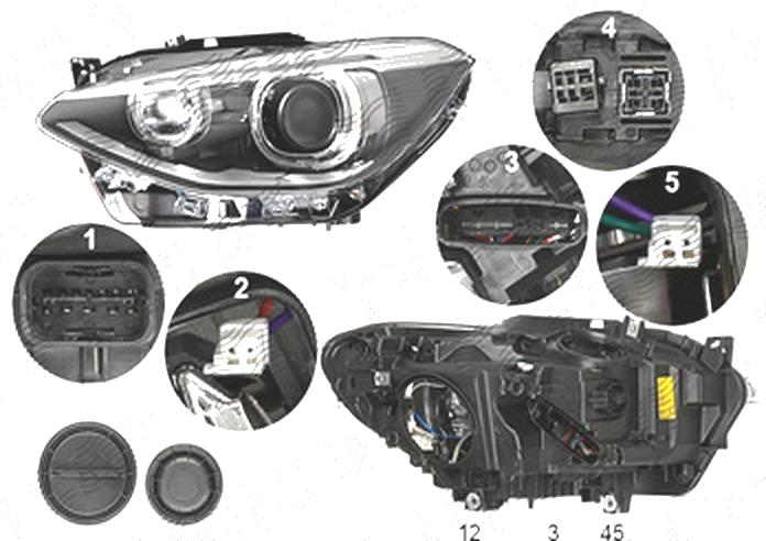 Far Bmw Seria 1 (F20), 08.2011-06.2015, fata, Stanga, bi-xenon; cu LED daytime running light; D1S+LED+PY21W; electric; fara unitate control; fara ballast; cu motor, DEPO