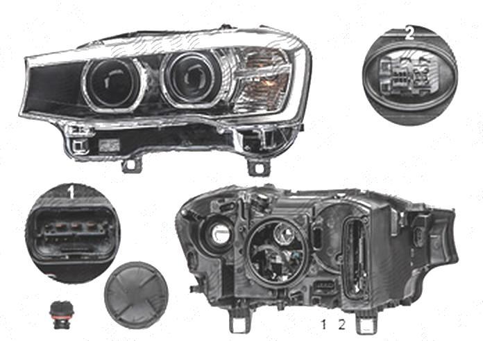 "Far Bmw X3 (F25), 03.2014-; X4 (F26), 08.2014-, fata, Stanga, fara ""BMW"" inscription; bi-xenon; cu LED daytime running light; D1S+LED+PY21W; electric; AL (Automotive Lighting)"