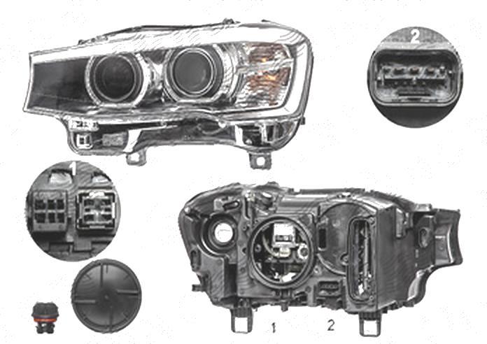 Far Bmw X3 (F25), 03.2014-; X4 (F26), 08.2014-, fata, Stanga, bi-xenon; cu lumini pentru curbe; cu LED daytime running light; D1S+LED+PY21W; electric, AL (Automotive Lighting)