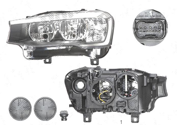 Far Bmw X3 (F25), 03.2014-; X4 (F26), 08.2014-, fata, Dreapta, cu daytime running light; H7+H7+PY21W+W21W+W5W; electric; cu motor, DEPO