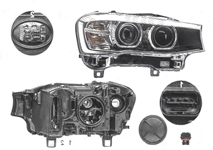 "Far Bmw X3 (F25), 03.2014-; X4 (F26), 08.2014-, fata, Dreapta, fara ""BMW"" inscription; bi-xenon; cu LED daytime running light; D1S+LED+PY21W; electric; AL (Automotive Lighting)"