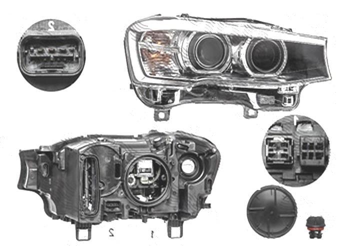 Far Bmw X3 (F25), 03.2014-; X4 (F26), 08.2014-, fata, Dreapta, bi-xenon; cu lumini pentru curbe; cu LED daytime running light; D1S+LED+PY21W; electric, AL (Automotive Lighting)