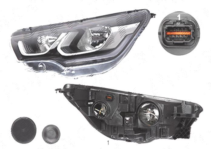 Far Citroen C4 (B7), 04.2014-; Ds4, 07.2014-, fata, Stanga, cu LED daytime running light; H7+H7; electric; cu motor;