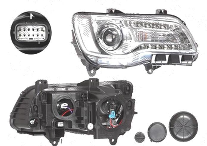 Far Chrysler 300, 2015-, fata, Dreapta, Tip= USA; HiR2; manual; silver; omologare: SAE, TYC