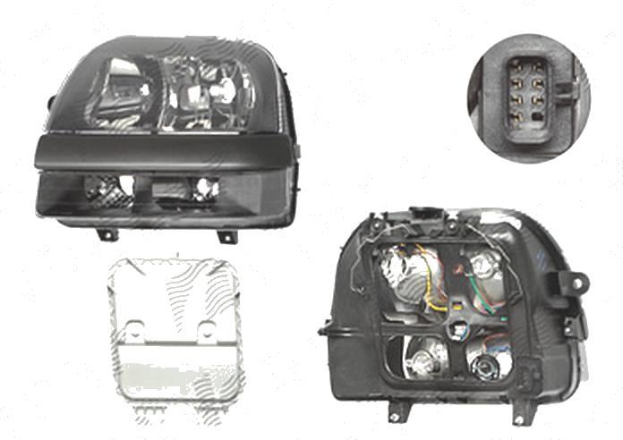Far Fiat Doblo (119/223), 01.2001-12.2005, fata, Stanga, Tip= Carello; H1+H7; electric; fara motoras, DEPO