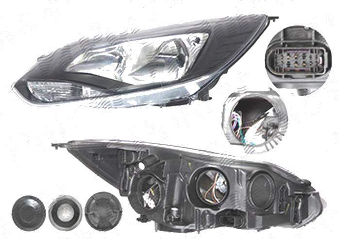 Far Ford Focus 3, 12.2010-11.2014, fata, Stanga, H1+H7+PY21W+W5W; electric; rama reflector negru; cu motor, DEPO