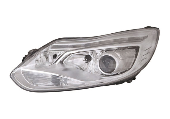 Far Ford Focus 3, 12.2010-11.2014, fata, Stanga, xenon; cu LED daytime running light; D3S+H1+H7+LED+PY21W; electric; rama reflector argintie; fara unitate control; fara ballast; cu motor, DEPO