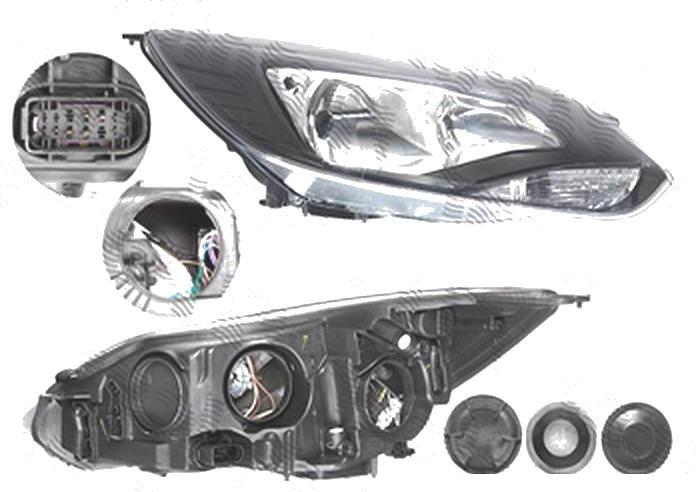 Far Ford Focus 3, 12.2010-11.2014, fata, Dreapta, H1+H7+PY21W+W5W; electric; rama reflector negru; cu motor, DEPO