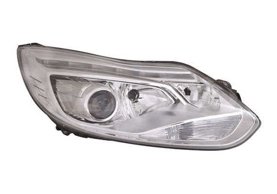 Far Ford Focus 3, 12.2010-11.2014, fata, Dreapta, xenon; cu LED daytime running light; D3S+H1+H7+LED+PY21W; electric; rama reflector argintie; fara unitate control; fara ballast; cu motor, DEPO
