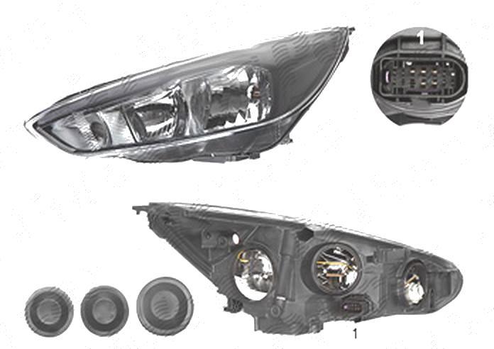 Far Ford Focus 3, 10.2014-, fata, Stanga, cu LED daytime running light; H1+H7+LED+PY21W; electric; negru; cu motor;