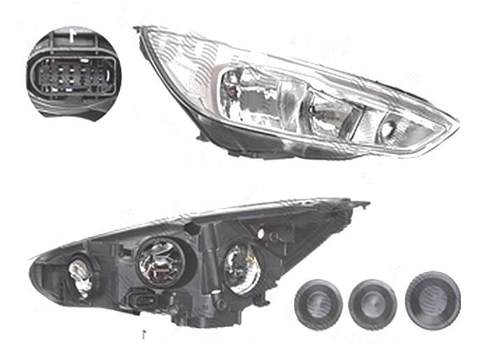 Far Ford Focus 3, 10.2014-, fata, Dreapta, cu LED daytime running light; H1+H7+LED+PY21W; electric; silver; cu motor;