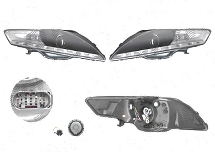 Far Ford Mondeo (Ba7), 03.2007-02.2015, fata, Stanga+Dreapta, cu LED-uri pozitie; H9; manual; negru, transparent; tuning;