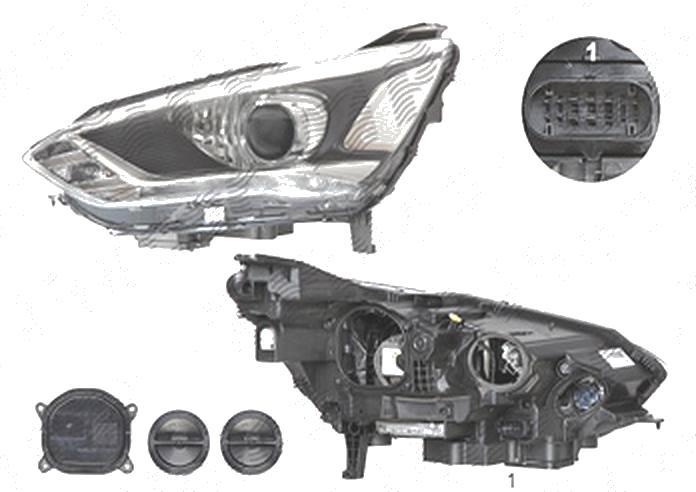 Far Ford C-Max, 05.2015-, fata, Stanga, xenon; cu lumini pentru curbe; cu LED daytime running light; D3S+H1; electric; silver; cu gas bec xenon; cu ballast; cu becuri; cu LED control unit, VALEO