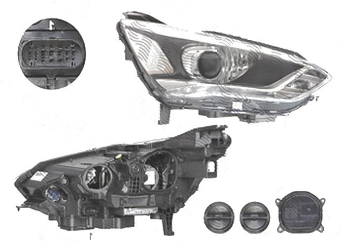Far Ford C-Max, 05.2015-, fata, Dreapta, xenon; cu lumini pentru curbe; cu LED daytime running light; D3S+H1; electric; silver; cu gas bec xenon; cu ballasts; cu becuri; cu LED control unit, VALEO