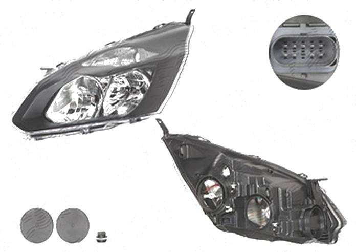 Far Ford Transit/Tourneo Custom, 03.2013-, fata, Stanga, cu daytime running light; H15+H7+PY21W+W5W; electric; negru; cu motor, DEPO
