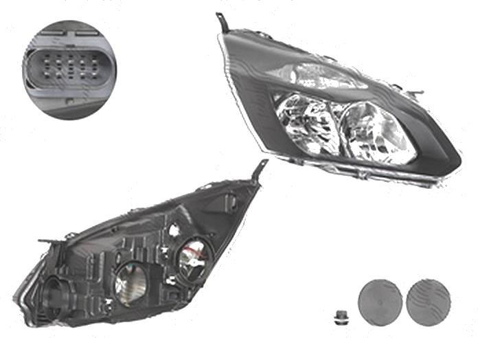 Far Ford Transit/Tourneo Custom, 03.2013-, fata, Dreapta, cu daytime running light; H15+H7+PY21W+W5W; electric; negru; cu motor, DEPO